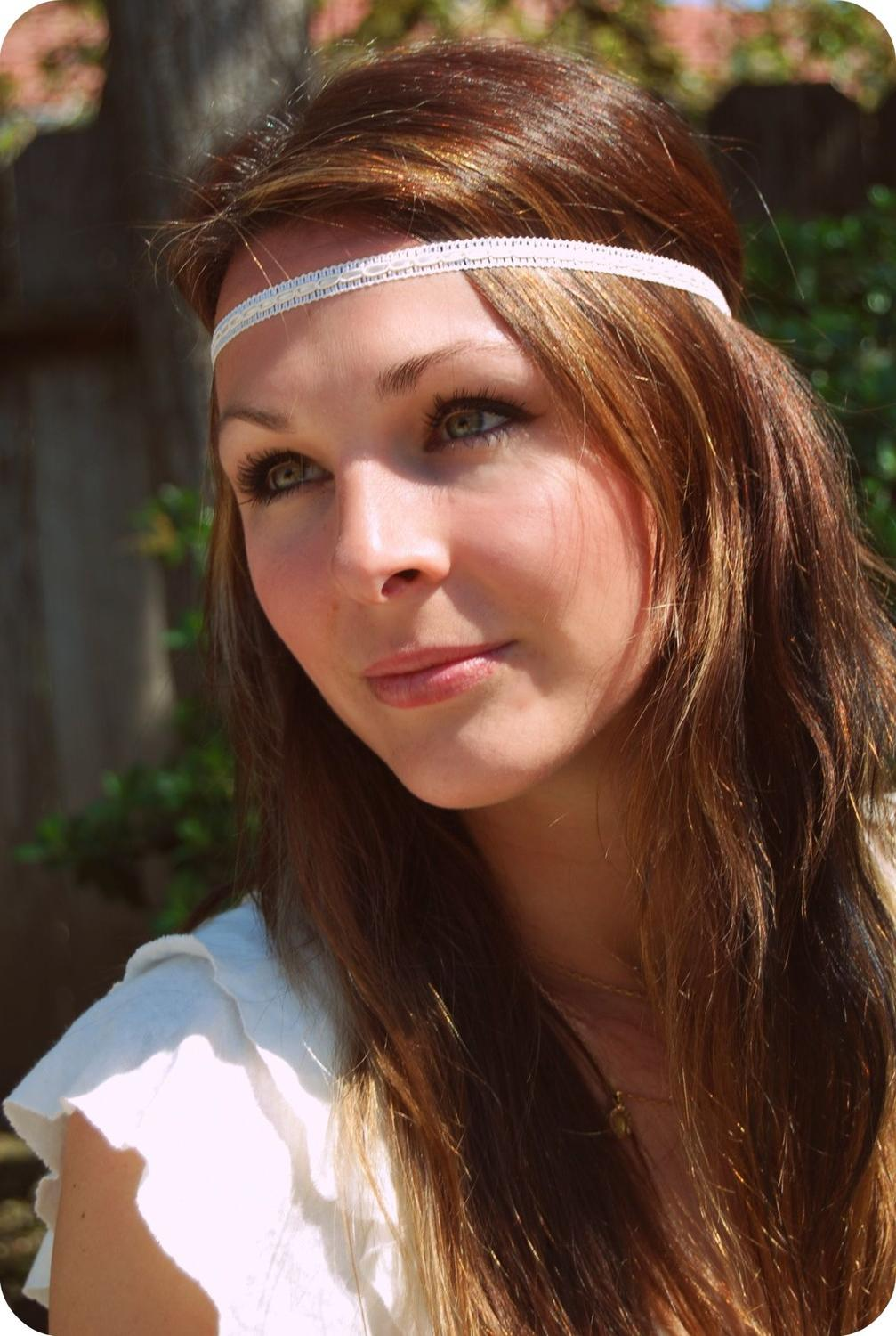 Plain Jane White Hippie Headband. From peacelovevintageshop
