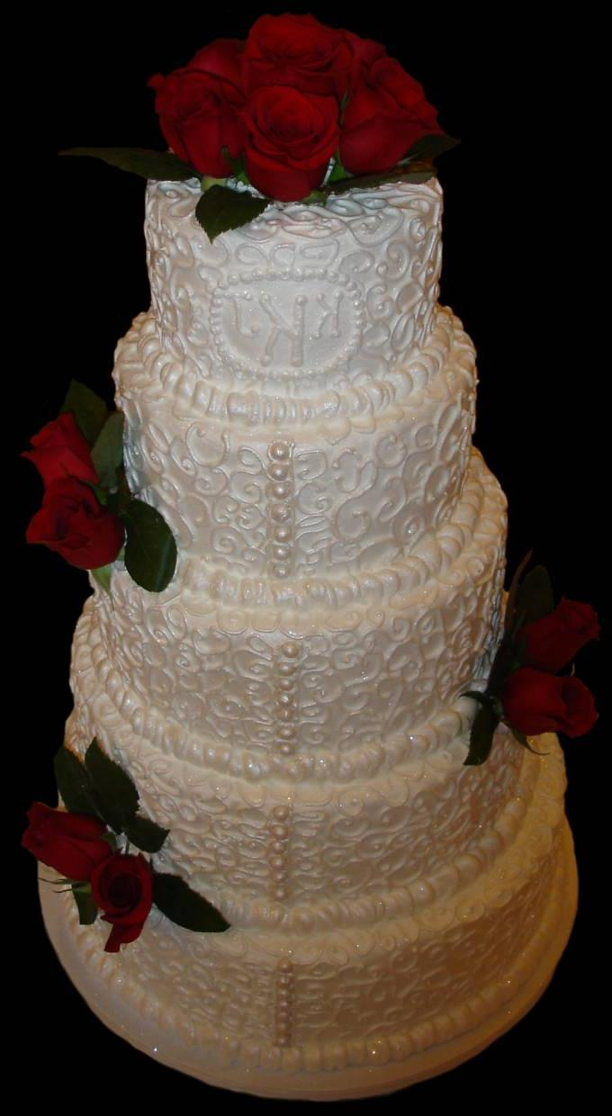 wedding cake accented with