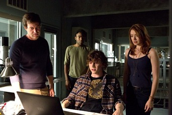 "M208  (Left to right.) Mark Duplass, Donald Glover, Evan Peters  and Sarah Bolger star in Relativity Media's ""The Lazarus Effect"".<br /><br />© 2013 BACK TO LIFE PRODUCTIONS, LLC<br /> Photo Credit:   Justin Lubin<br />"