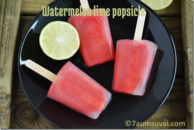 Watermelon lime popsicle