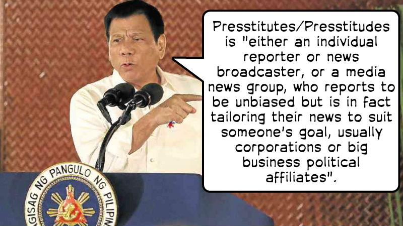 Image of President Duterte Versus Presstitution