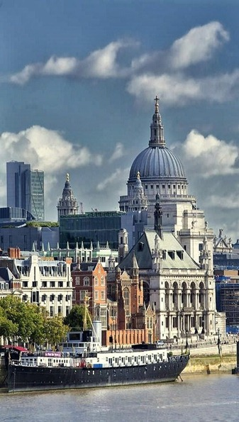St Pauls Cathedral from the Thames River, London