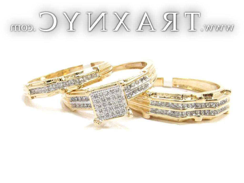 Full Size Picture for Yellow Gold Round Cut Micro Pave Channel Diamond Ring