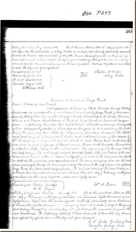 William A. Irwin of Oleta, Amador Co, Calif quick claims to George Funk 1887
