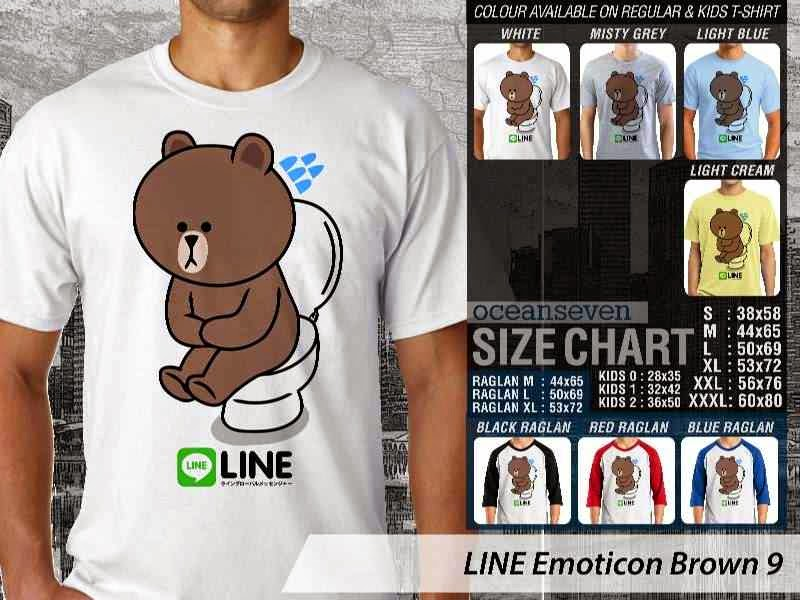 KAOS IT LINE Emoticon Brown 9 Social Media Chating distro ocean seven