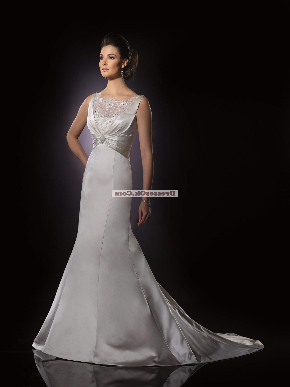 Perfect A-line scoop chapel satin lace wedding dresses WD10LCC011