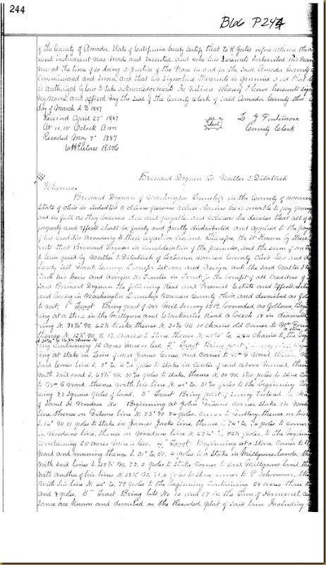 William A. Irwin of Oleta, Amador Co, Calif quick claims to George Funk 1887 1
