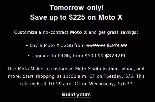 Buy moto X Tomorrow Save $225