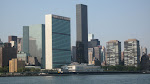 The United Nations building and the Trump International Tower (the black monolith structure)