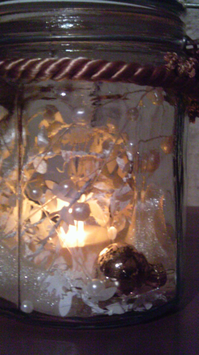 Large Beveled glass Lighted Mason Jar with Decorations. From Chersgifts