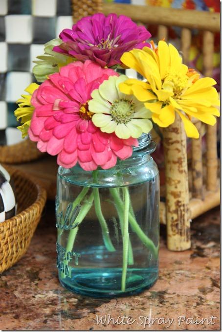 Zinnias in a Turquoise Mason Jar