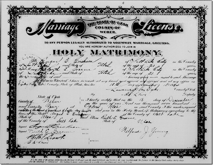 Weber County, Utah marriage license scanned from microfilm