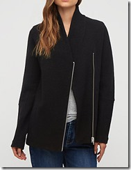 Jigsaw black boiled wool zip jacket