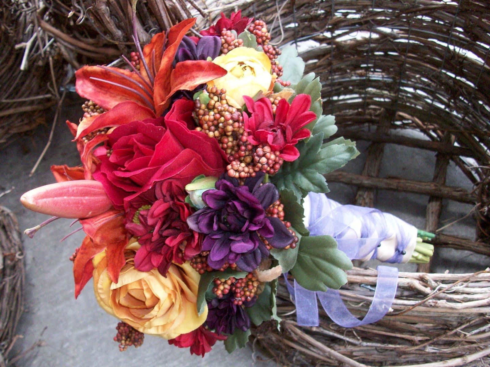 Fall Wedding Bouquets Fake : Violet s silk fall wedding bouquet