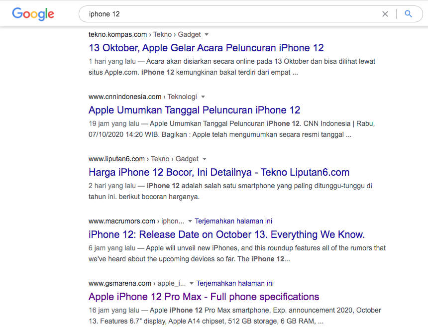 hasil pencarain iphone 12 di google