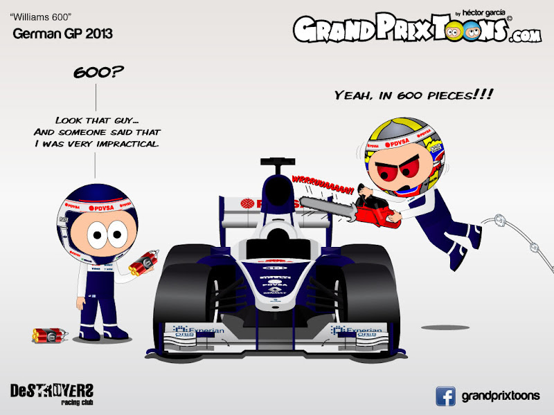 Вальтери Боттас и Пастор Мальдонадо отмечают юбилейную гонку Williams 600 на Гран-при Германии 2013 - комикс Grand Prix Toons
