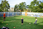 After school programs include outside activities as well. Here, students participate in soccer on a large playing field at our Carlsbad Village campus.