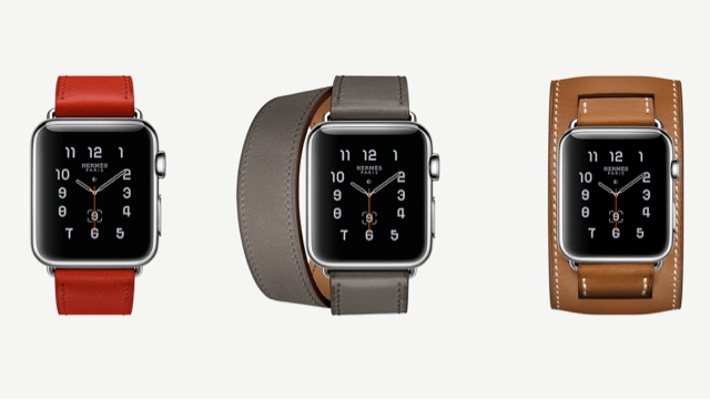 Apple Watch Hermès Colours - (from left) Single Tour in Red Capucine, Double Tour in Grey Etane and Cuff in Brown Fauve