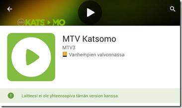 MTV Katsomo ei toimi MeMO Padissa