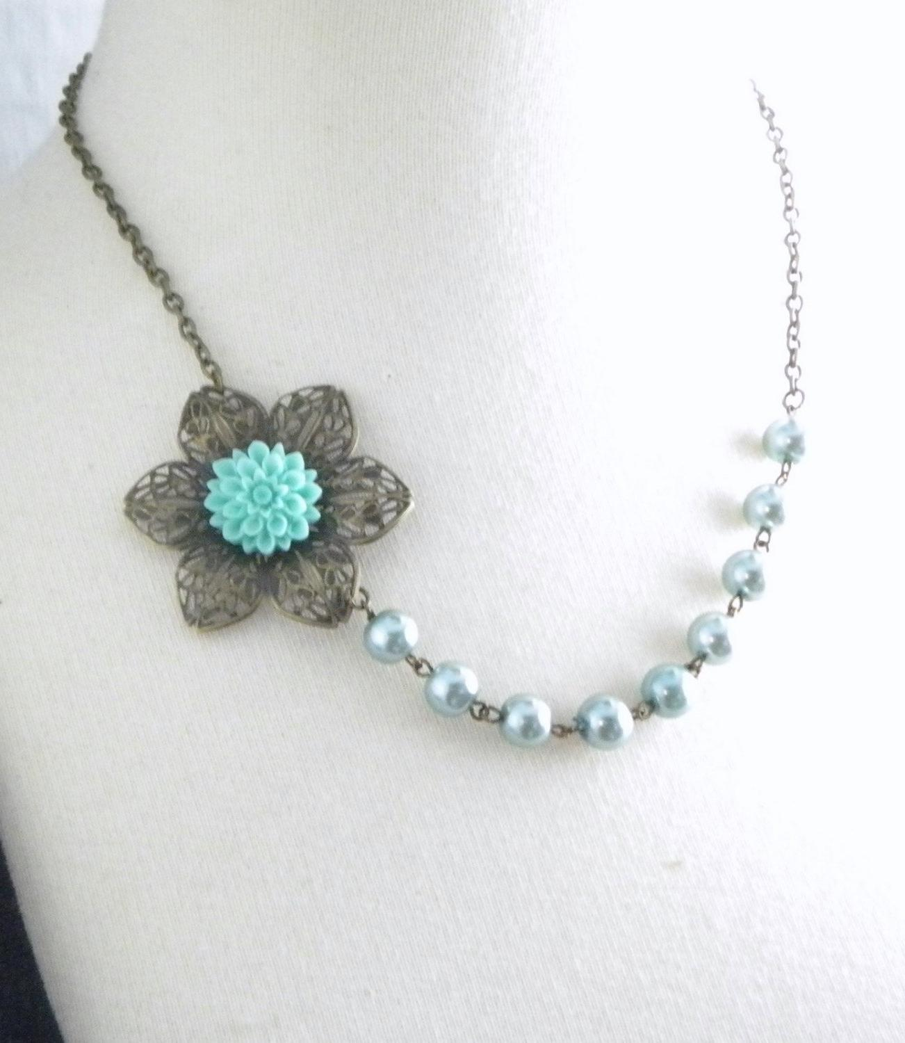 Aqua Blue Wedding Flower Necklace. From cymbaline84
