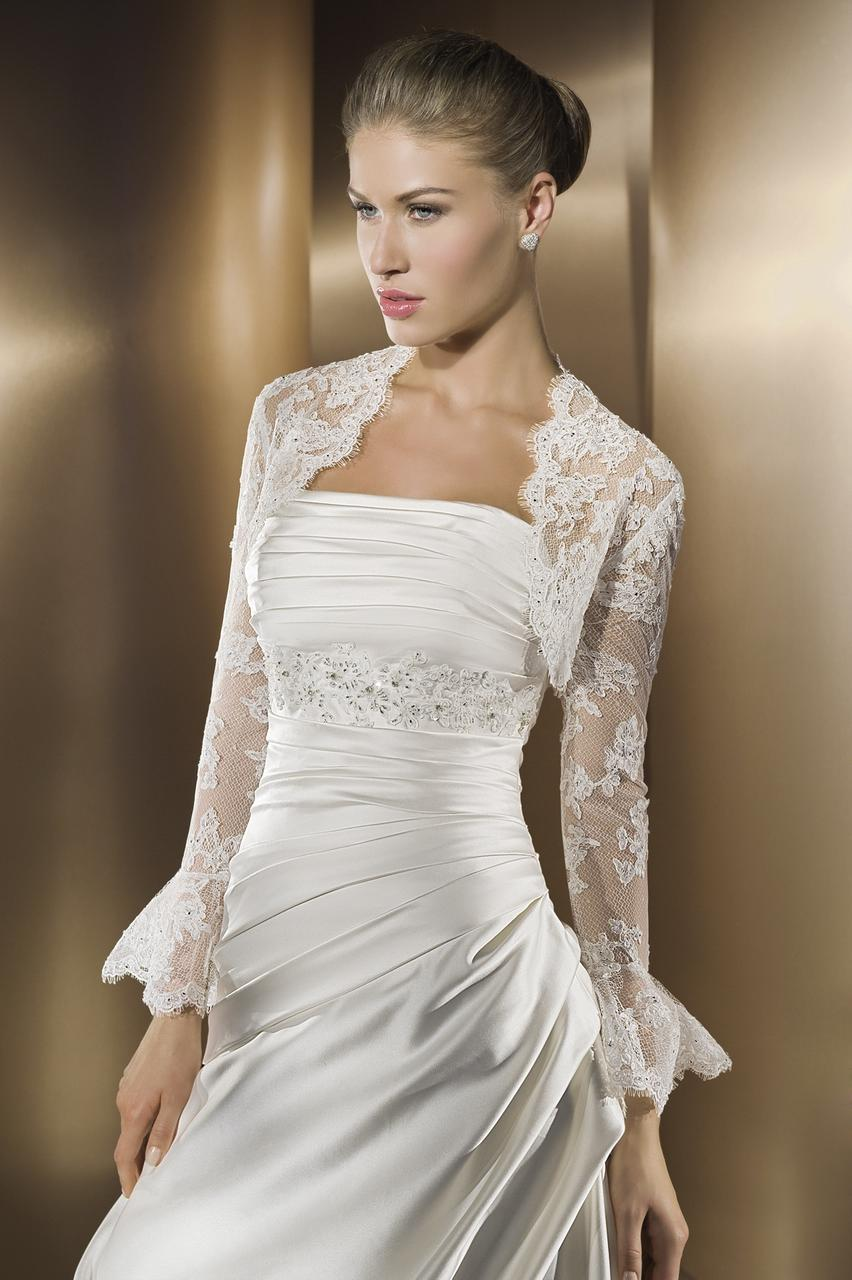 Applique Ruched Satin Sweep Train Designer Wedding Dress for Brides
