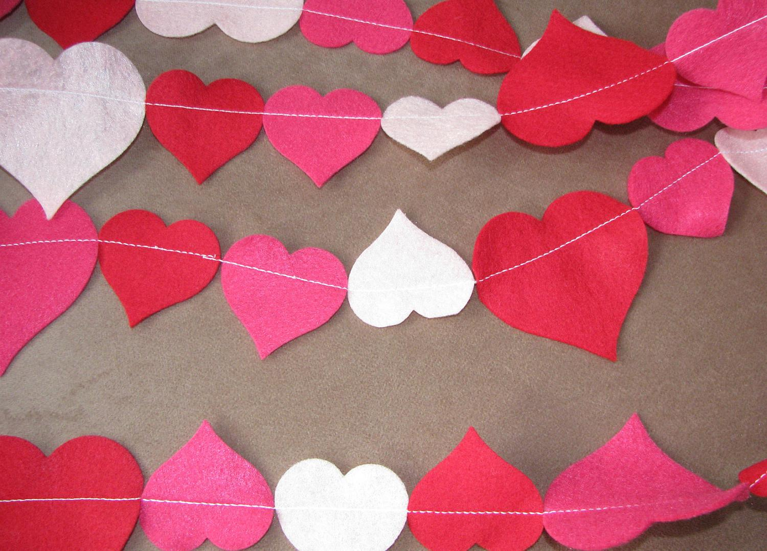 Felt Heart Garland, Wedding