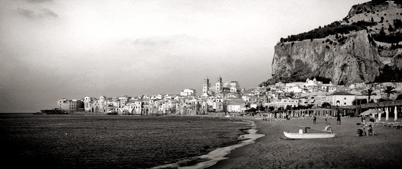 Memorable view of Cefalù and The Rocca from Villa Gaia hotel's beach