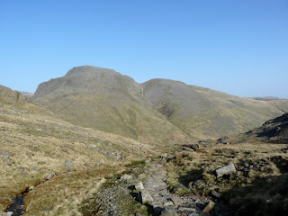 Looking back to Great Gable and Green Gable from the path to Sprinkling Tarn