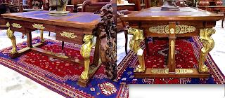 Русский антикварный письменный стол. 19-й век. Красное дерево, бронза, позолота. 160/102/72 см. 10000 евро.