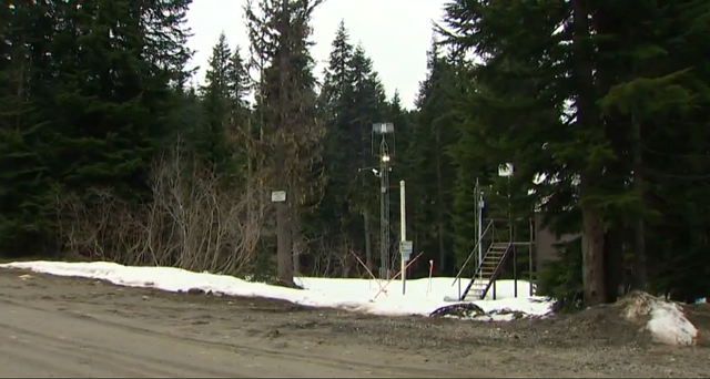 SNOTEL site at Stevens Pass, Washington, in early April 2015, during the worst snow drought on record. Photo: KING 5 News