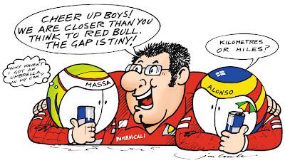 Стефано Доменикали пытается подбодрить своих пилотов - комикс Jim Bamber по сезону 2011