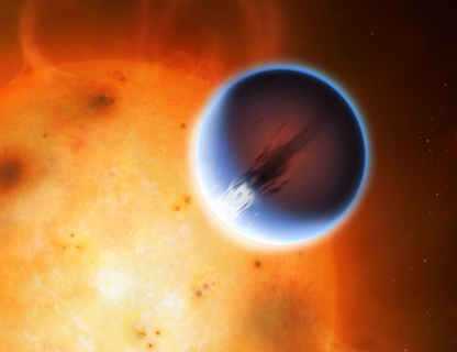 ilustração de exoplaneta passando em frente da sua estrela