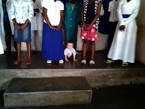 We also visited our old church in Dumphries, Latter Rain Church, and during the adult choir time, Matimu decided to join them on stage!  Everyone seemed to appreciate it just fine.  ;-)
