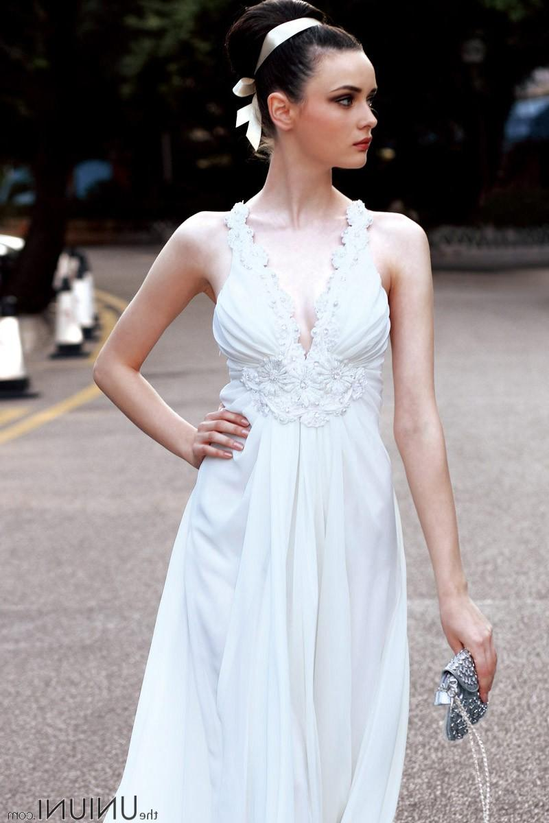 White Chiffon Beaded Casual