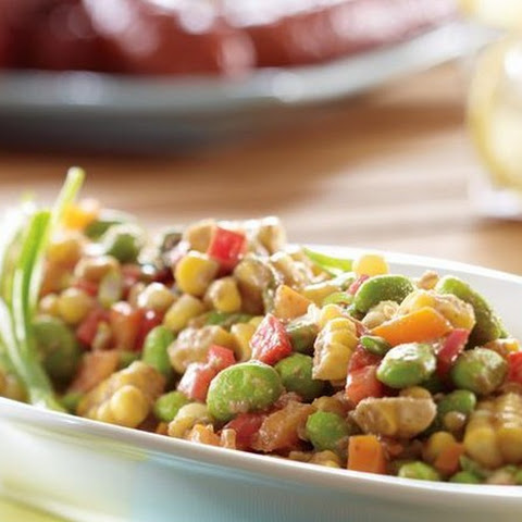 Summer Corn and Edamame Salad with Walnut Miso Dressing
