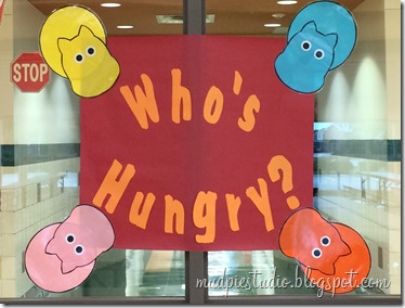 Hungry Hungry Hippos classic board game theme bulletin board