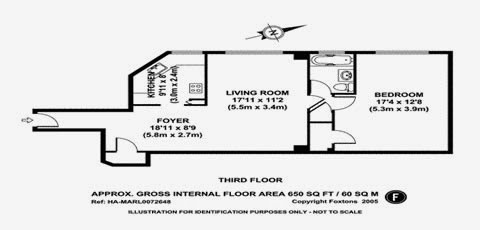 1 bedroom, 1 bathroom Parkchester, Bronx, New York apartment and condominium floor plan - total 650 sq ft.