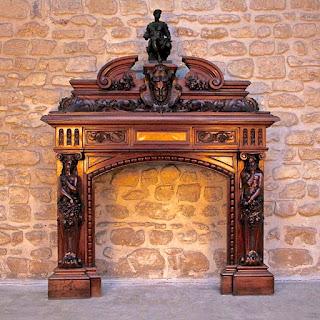 Антикварный резной портал для камина. 19-й век. Ценные породы дерева, резные скульптуры. 170/53/180 см. 20000 евро.