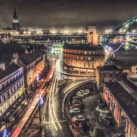 Newcastle Night by Adam Lang - City,  Street & Park  Night ( lights, slow exposure, night, newcastle, filter )