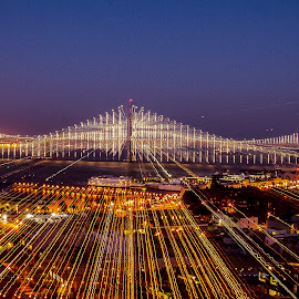 Bay Bridge Light Blur Effect by Kristopher Acevedo - Abstract Light Painting ( light painting, bay, light blur, night, bay bridge, san francisco, city )