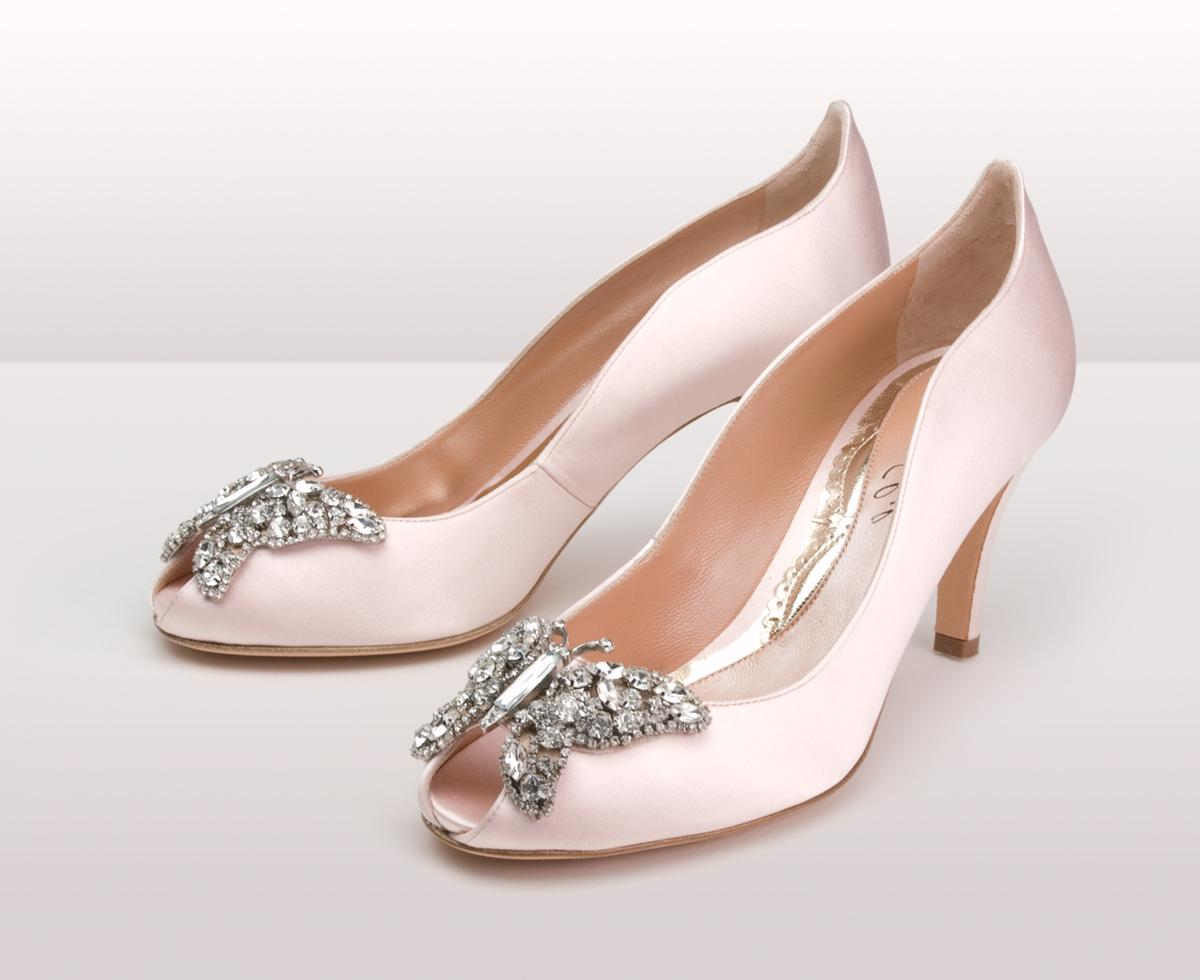 light pink wedge wedding shoes
