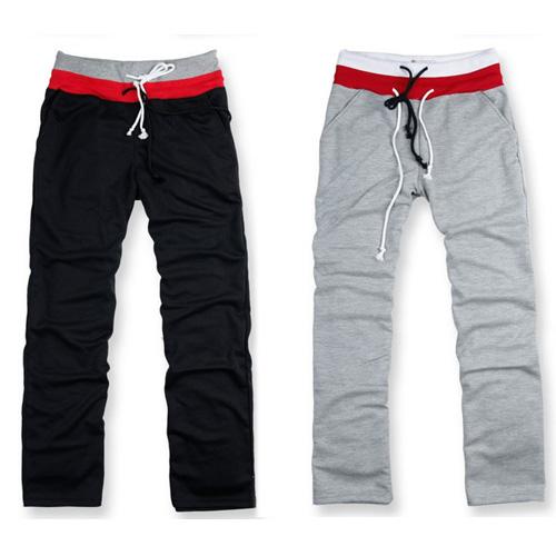 Mens-Casual-Sports-Loose-Drawstring-Long-Pants-Trousers-Slacks-Black-White-Gray