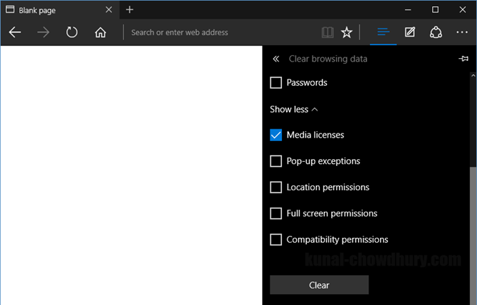 Clear browsing data in Microsoft Edge (www.kunal-chowdhury.com)