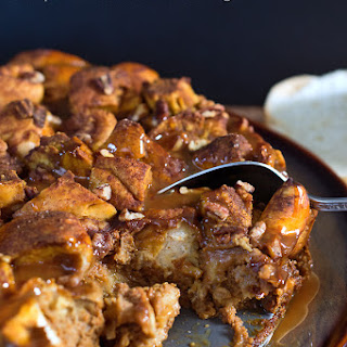 Pumpkin Pie Bread Pudding w/ Caramel Sauce