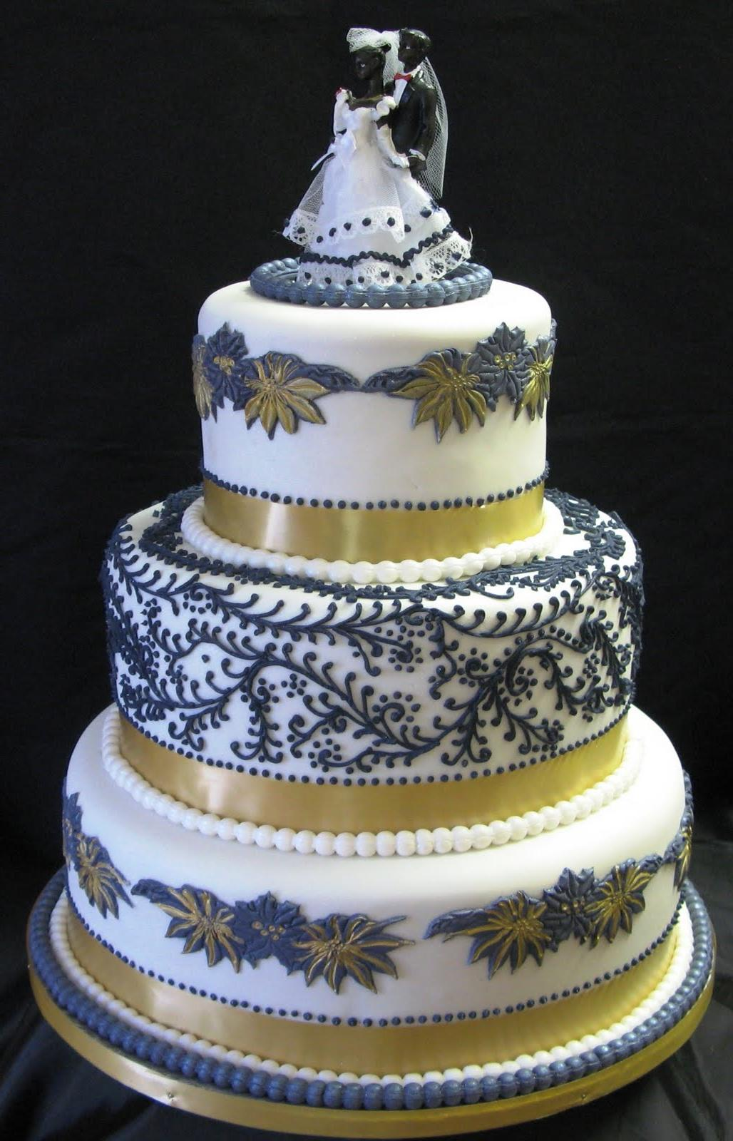 Floral Three-Tier Wedding Cake