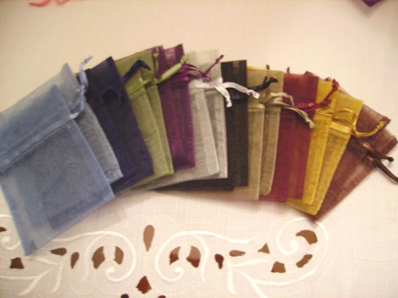 100 - 4 x 6 Organza Bags - Dark Assortment - Great for wedding favors,
