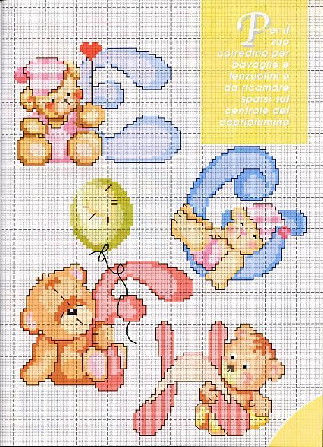Lo spazio di lilla alfabeto a punto croce con gli orsetti for Schemi lettere punto croce