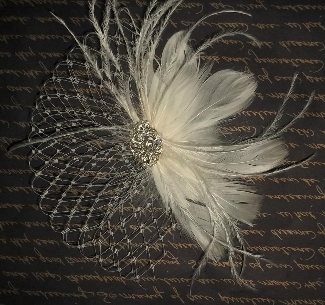 Ivory bridal hair fascinator,