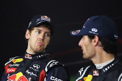 Себастьян Феттель и Марк Уэббер на пресс-конференции после гонки на Гран-при Бразилии 2011