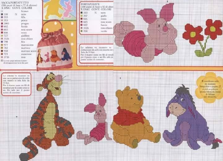 Lo spazio di lilla winnie the pooh e i suoi amici schemi for Winnie the pooh punto croce
